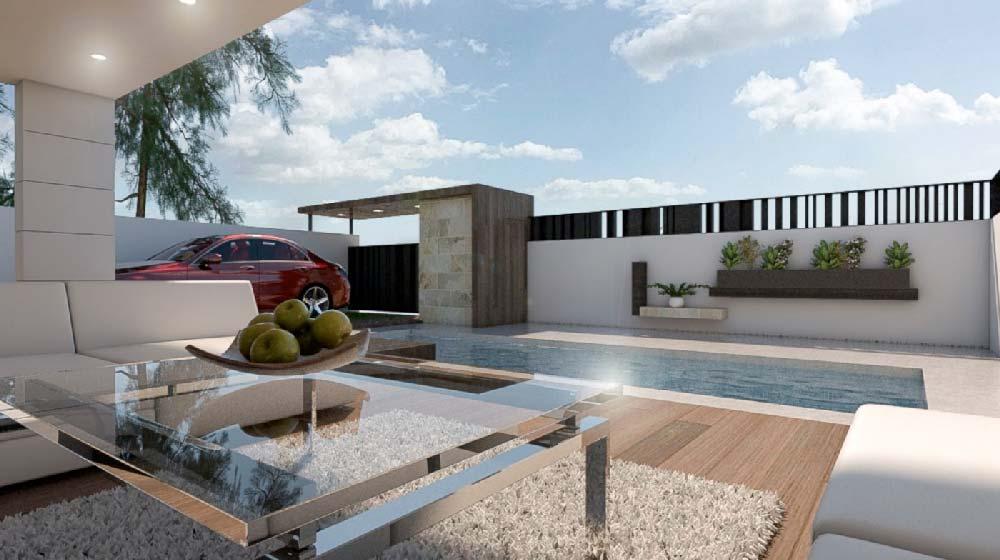 En venta villa de estilo contemporáneo, diseño exclusivo, muy luminosa, con patio, jardín y piscina.